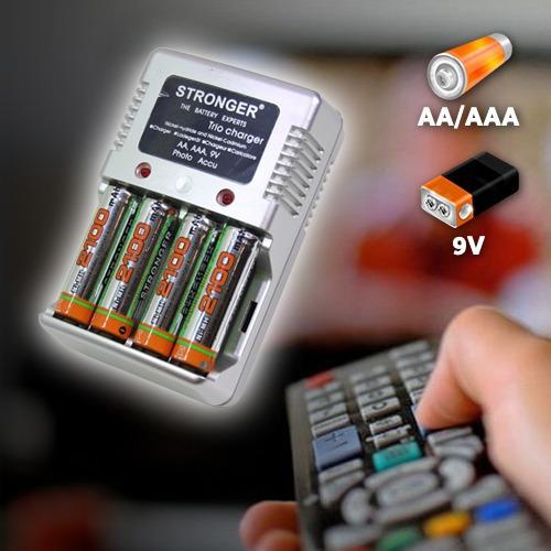 Univerzális töltő + 4 db tölthető 2100mAh ceruza akku (AA/AAA/9V tölthető)