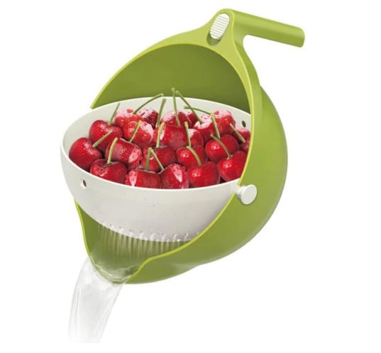 Praktikus billenthető gyümölcs- és zöldségmosó, tésztaszűrő