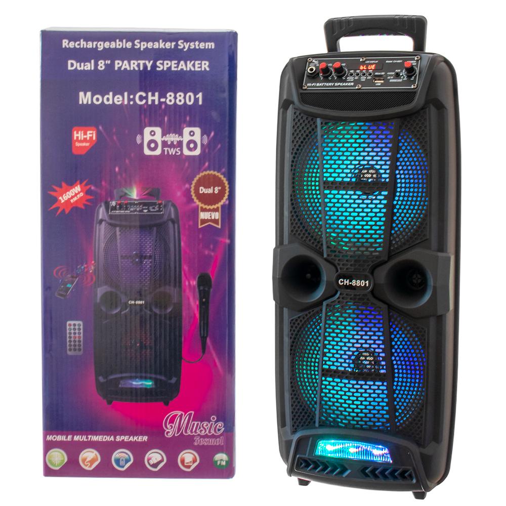 Hordozható bluetooth party hangfal mikrofonnal, LED fényekkel (CH-8801)