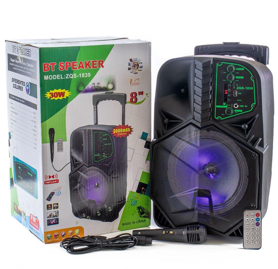 ZQS-1839 hordozható távirányítós bluetooth party hangfal mikrofonnal