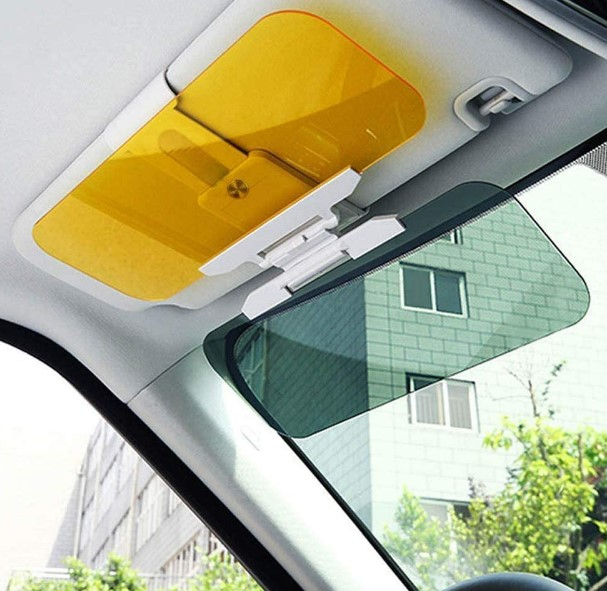 Autós fényszűrő – napellenzőre csíptethető, látássegítő napellenző