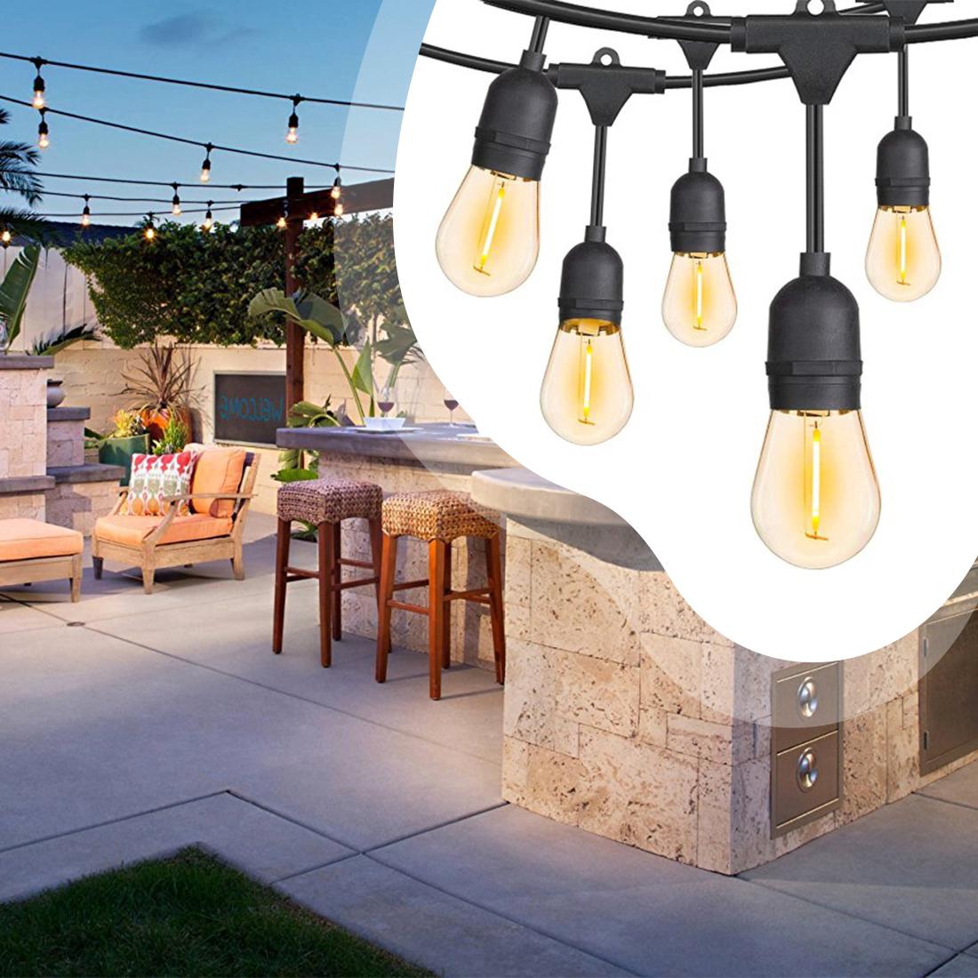 Dekor égősor, 20 db E27 LED lámpával - 10 méteres (BB5614)