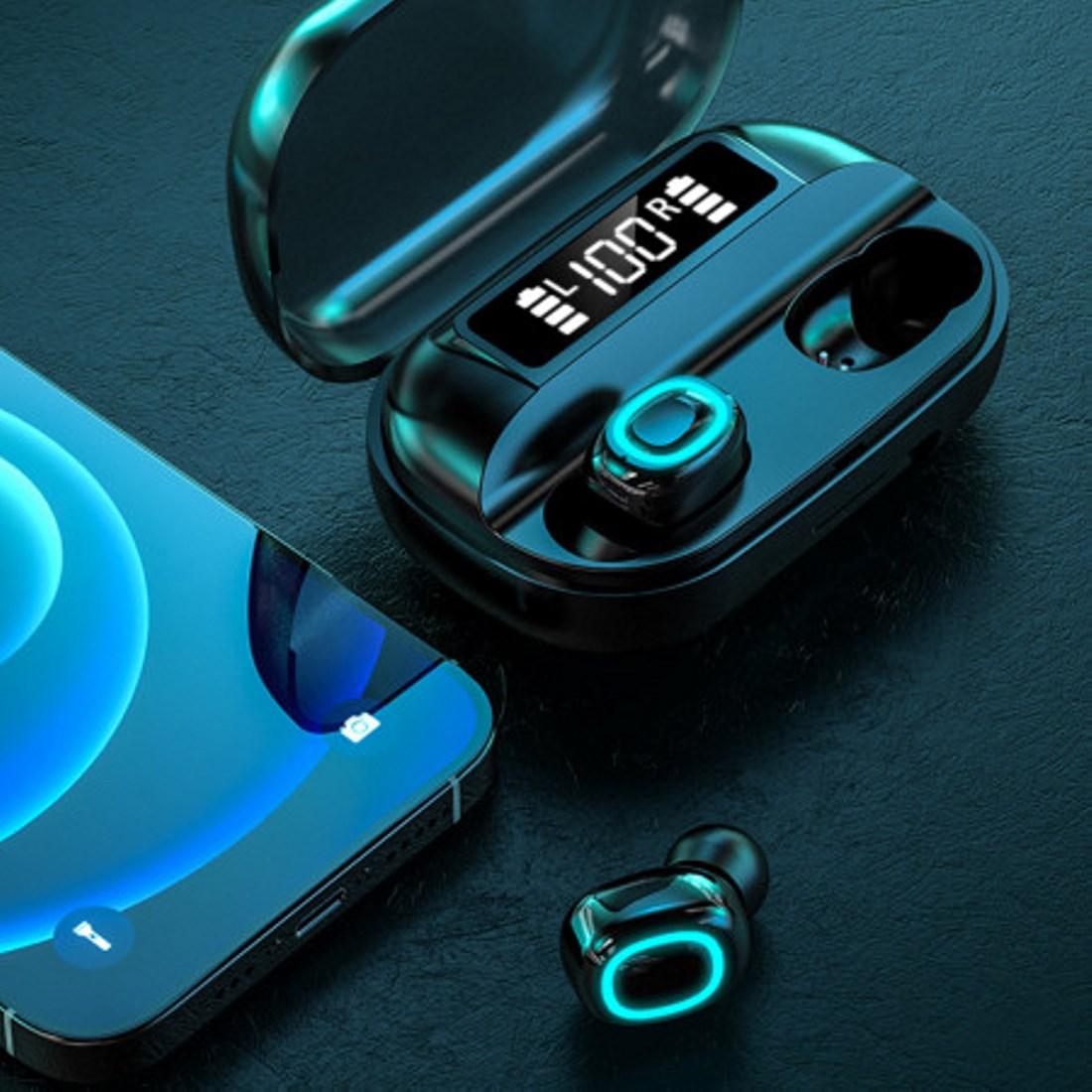 A42 TWS Bluetooth 5.0 fülhallgató LCD kijelzős töltőtokkal